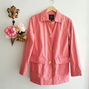 Coral Pink Short Trench Coat With Gold buttons
